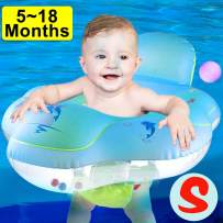 Camlinbo 【Anti Rollover】 Baby Pool Floats Swimming Ring with Safe Seat & Backrest, Inflatable Baby Swimming Float, Swimming Pool Accessories-Newborn Baby Kid Toddler (S-5-18Months (11-26.5lbs)) (S)