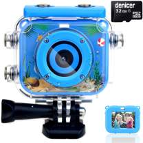 denicer Waterproof Kids Camera with 2.0 Inch HD Display 12MP Photo Resolution & 1080P Video Resolution with 32G SD Card Underwater Children's Camera for 4-12 Boy Birthday Be