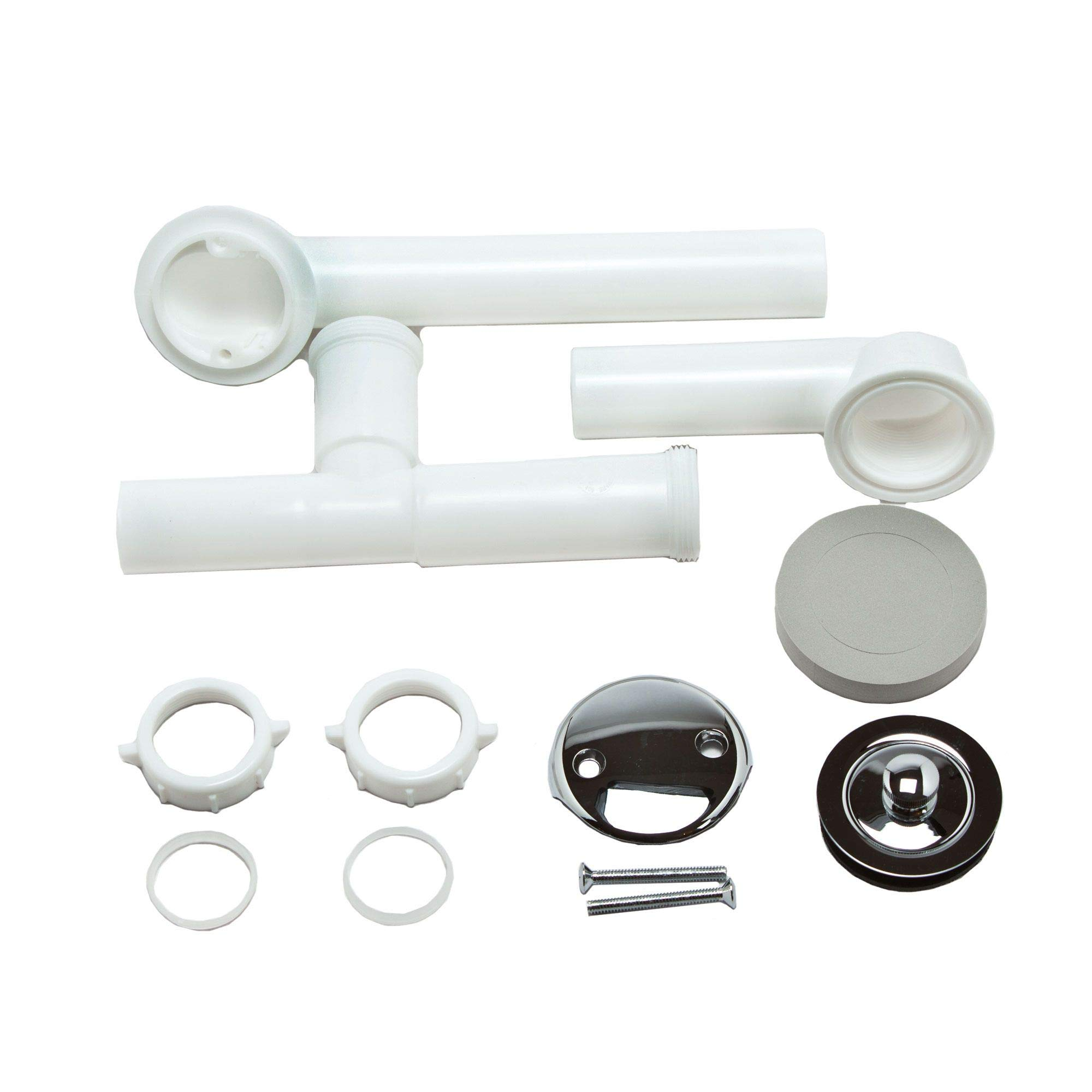 MOEN 90530 Tub/Shower Assembly with Lift-N-Drain, 1-1/2 in, Threaded Shoe, PVC, Chrome