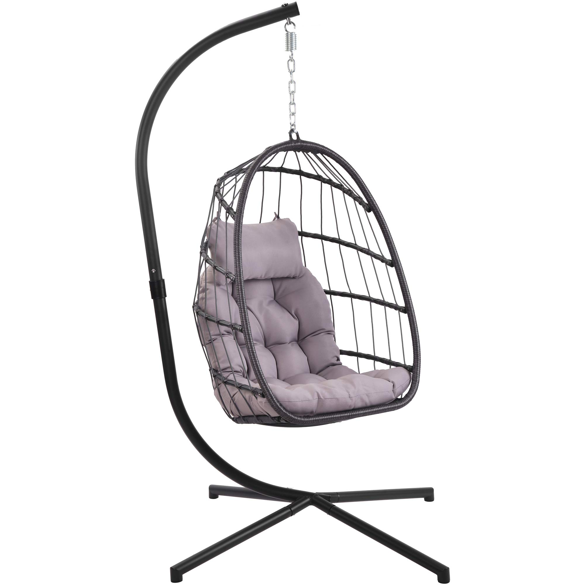 Patio Hanging Egg Chair With Stand Swing Chair Basket Swinging Chair Porch Chaise Lounge Chair Rattan Wicker Hammock Chair With Deep Cushion For Indoor Outdoor Home Bedroom Backyard Balcony Gray
