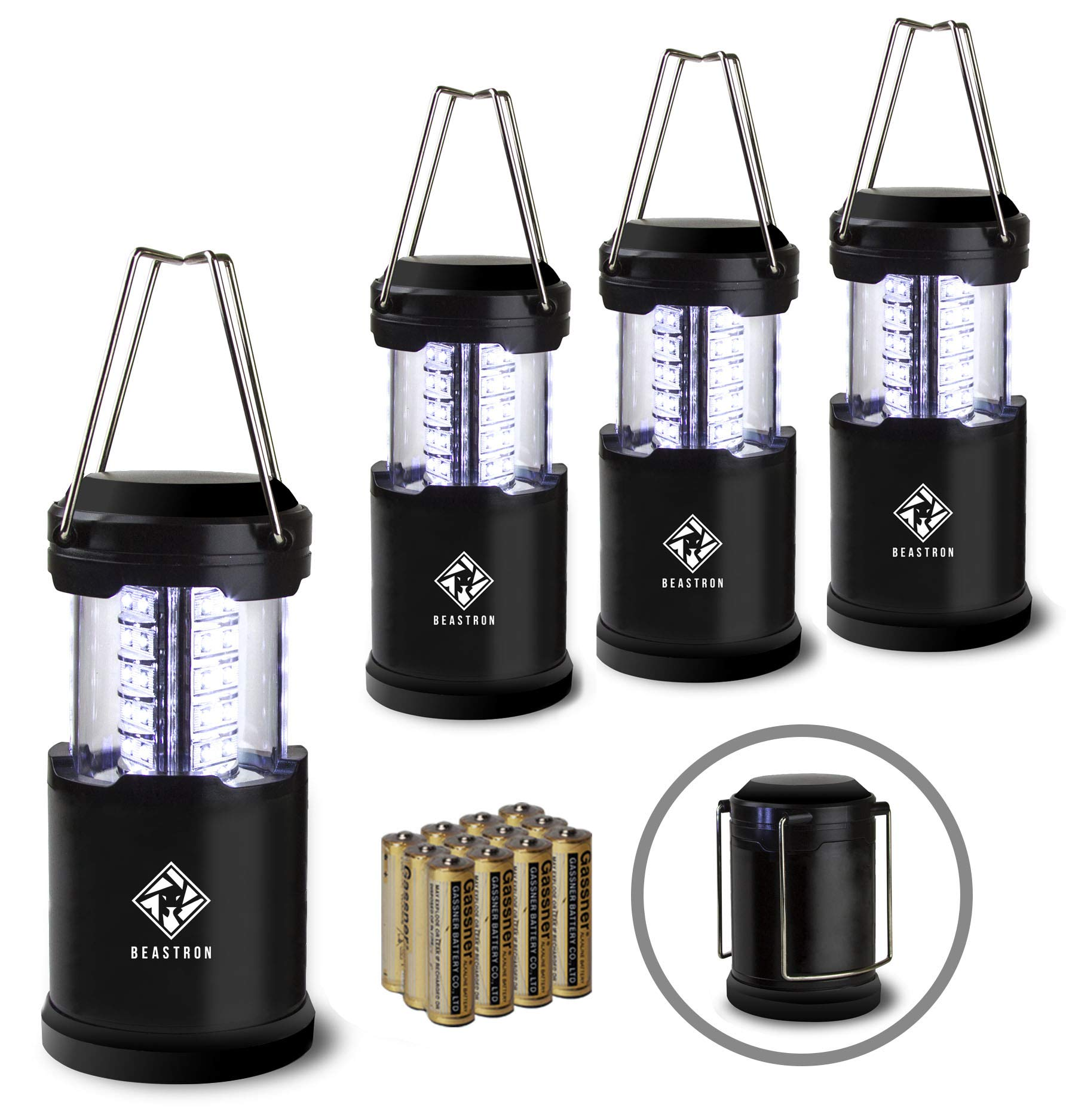 Beastron Portable LED Camping Lantern Flashlights with AA Batteries,Survival Kit for Emergency Light, Hurricane Power Outage, Storm, Outage Outdoor Portable Lanterns (4 Pack Black, Collapsible)