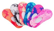 6 Pair Colorful Pattern No Show Liner Socks For Women