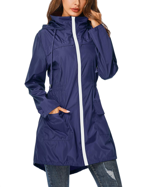ZEGOLO Rain Jacket Windbreaker Women's Lightweight Waterproof Raincoats Packable Active Hooded Trench Coats