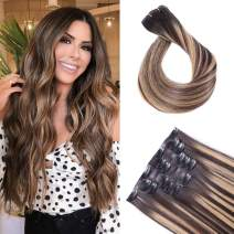 Maxfull Seamless Clip In Remy Hair Extensions Dark Brown Balayage, Invisi-PU Hair Extensions Clip On Human Hair with Caramel Blonde Highlights, 7pcs, 14inch, 110g