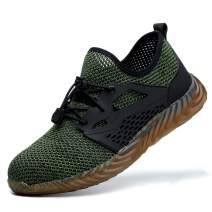 ORISTACO Steel Toe Work Shoes, Comfortable Casual Lightweight Slip on Slip Resistant Industrial Construction Sneakers