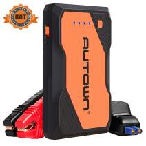 AUTOWN Jump Starter, 800A Peak 10000mAh Battery Jumper Starter with USB Quick Charge, 12V Auto Battery Booster, Portable Power Pack with Built-in LED Light, LCD Screen and Type-C Cable (Orange)