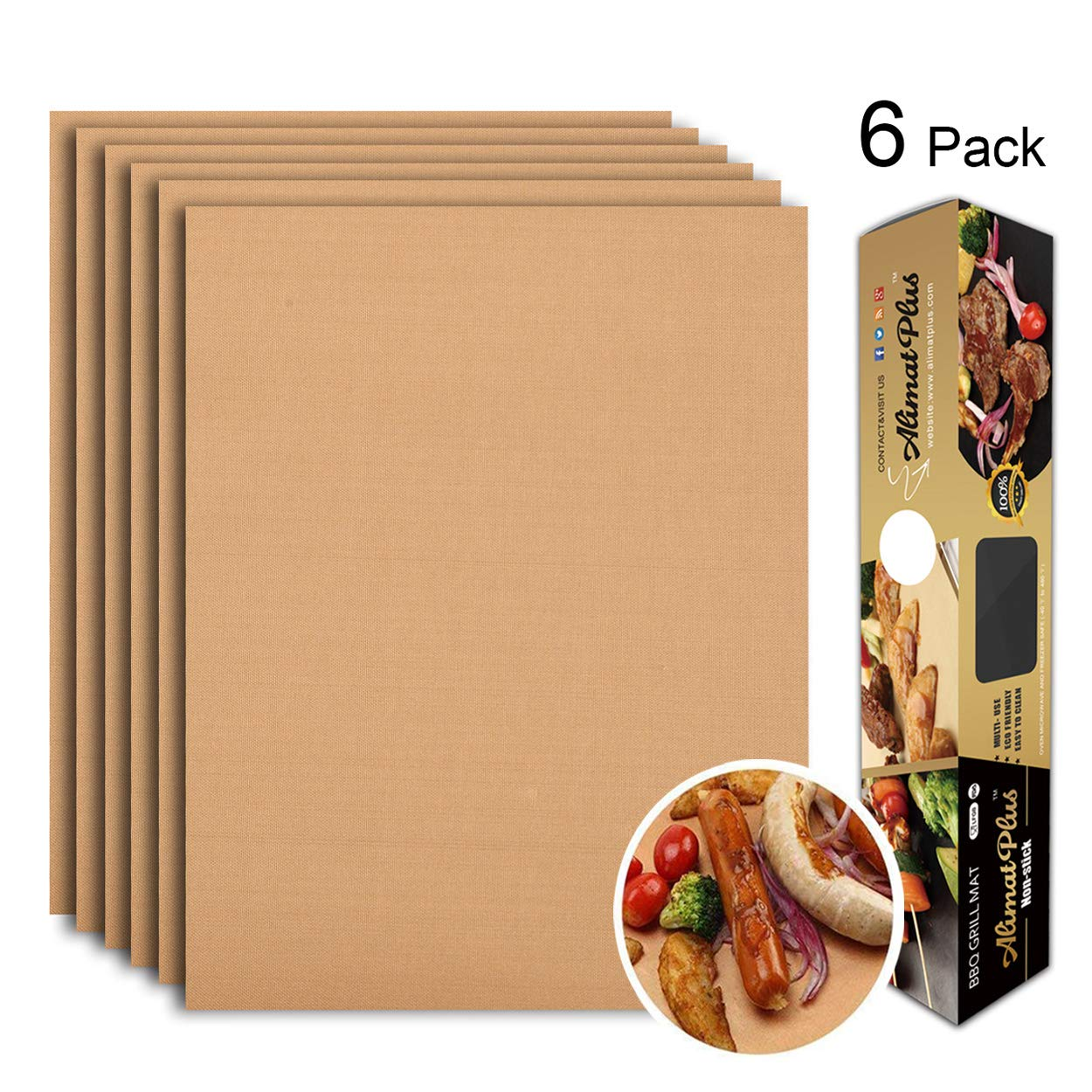 Alimat PluS Grill Mat Set of 6 - BBQ Grill Mats Nonstick Reusable - Heavy Duty 1.5 oz/Sheet, Easy-Clean, Works on Electric Grill, Gas, Charcoal, Oven - 15.75 x 13 Inch, Copper