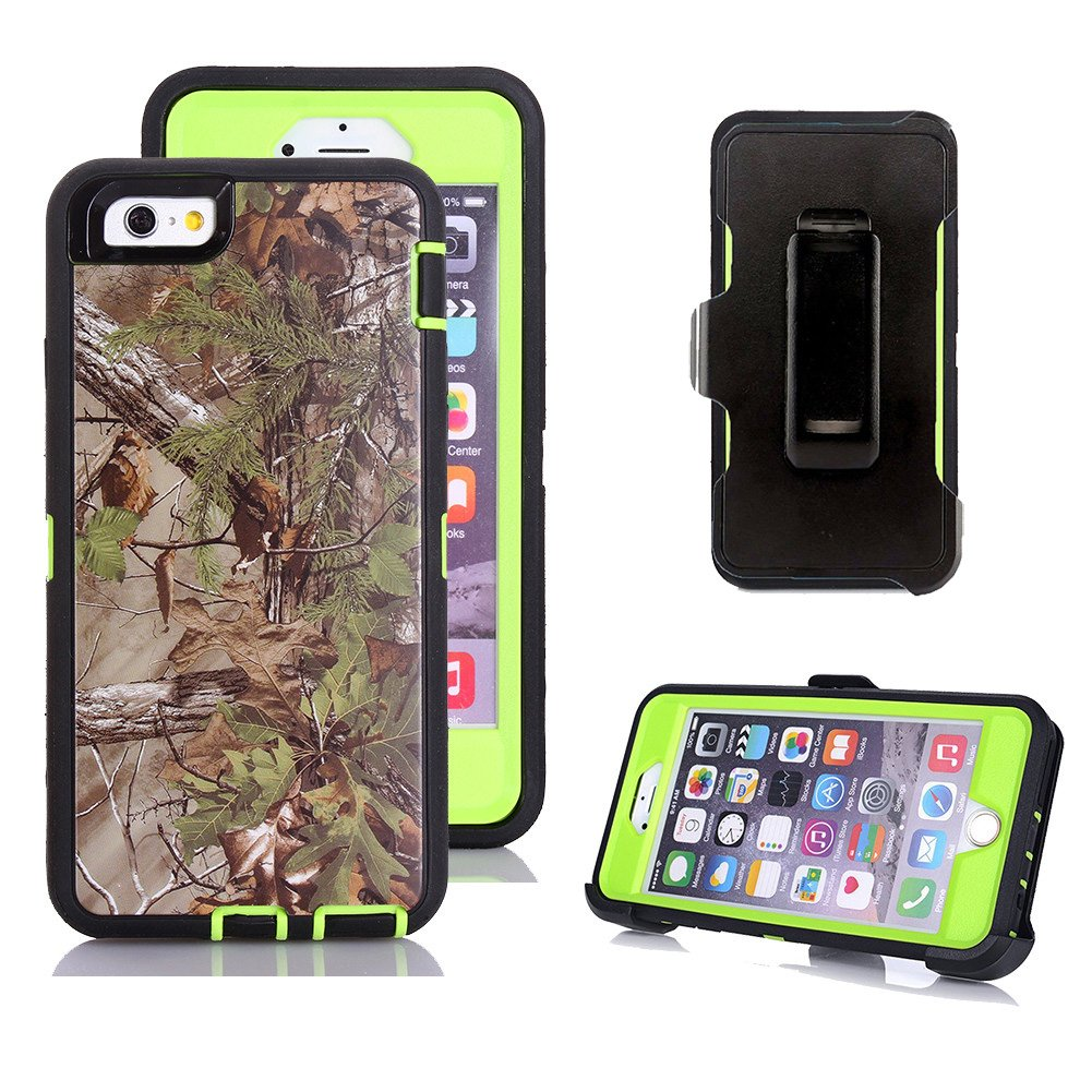 iPhone 6s Plus Case, Harsel Defender Series Heavy Duty Tree Camouflage Impact Tough Armor Hybrid Military w/Belt Clip Screen Protector Case Cover for iPhone 6s Plus/iPhone 6 Plus (Forest Green)