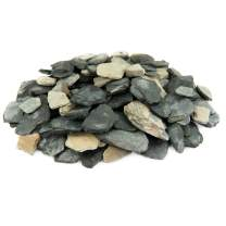 Black and Tan Slate Chips   10 Pounds   100% Natural Decorative Garden Stones   Ideal Ground Cover or Top Dressing   Adds Contemporary Look to Any Landscape Design   1 Inch - 3 Inch