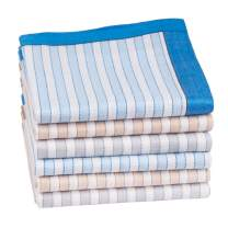 Houlife Classic 100% 60S Cotton Mens Stripe Checkered Pattern Handkerchiefs Assorted Soft Plaid Hankies 17x17""