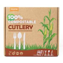 WRAPOK 100% Disposable Compostable Biodegradable Cutlery Durable Utensils Plastic Flatware Set Eco Friendly, 140 Count(40 Knives, 50 Forks, 50 Spoons)