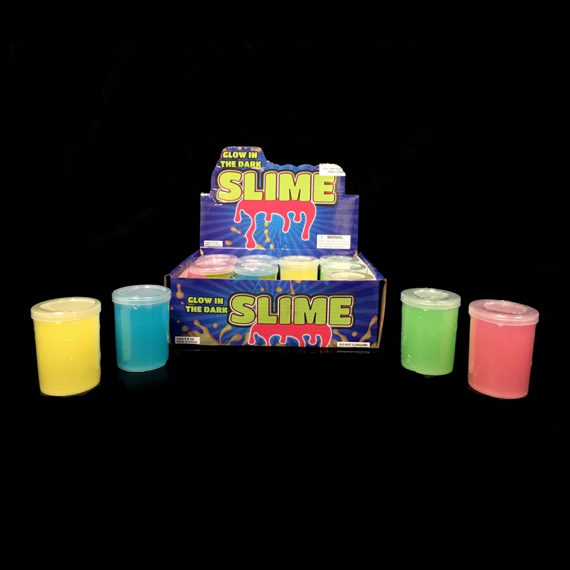 Fun Central 12 Pieces - Glow in The Dark Slime in Bulk Party Favor for Kids - Assorted Colors