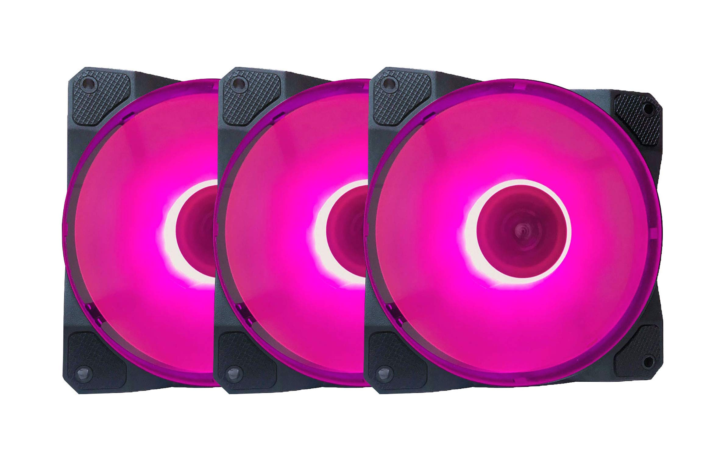 APEVIA CO312L-PK Cosmos 120mm Pink LED Ultra Silent Case Fan w/ 16 LEDs & Anti-Vibration Rubber Pads (3 Pk)