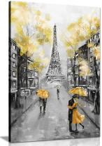 Yellow Black & White Paris Painting Canvas Wall Art Picture Print (18x12)