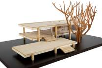 """Midcentury Modern Masterpiece Farnsworth House Scale Model kit. Finished Model is 10"""" x 6"""" x 4""""."""