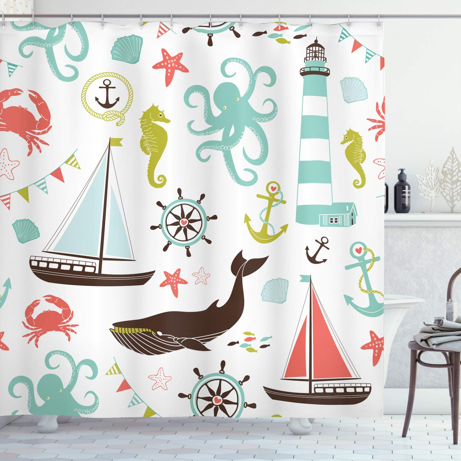 """Ambesonne Nautical Shower Curtain, Pastel Colored Composition of Lighthouse Sailboat Fish Shells Octopus and Anchor, Cloth Fabric Bathroom Decor Set with Hooks, 75"""" Long, Coral Turquoise"""