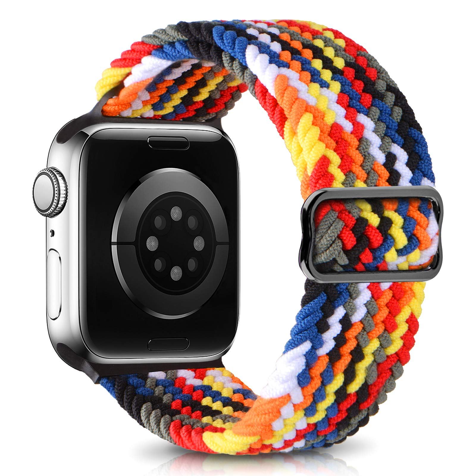 EOMTAM Adjustable Braided Sport Elastics Bands Compatible with Apple Watch Bands 38mm 40mm 42mm 44mm Women Men, Streatch Solo Loop Strap Compatible for iWatch Series 6 5 4 3 2 1 SE(PATENTS Pending)