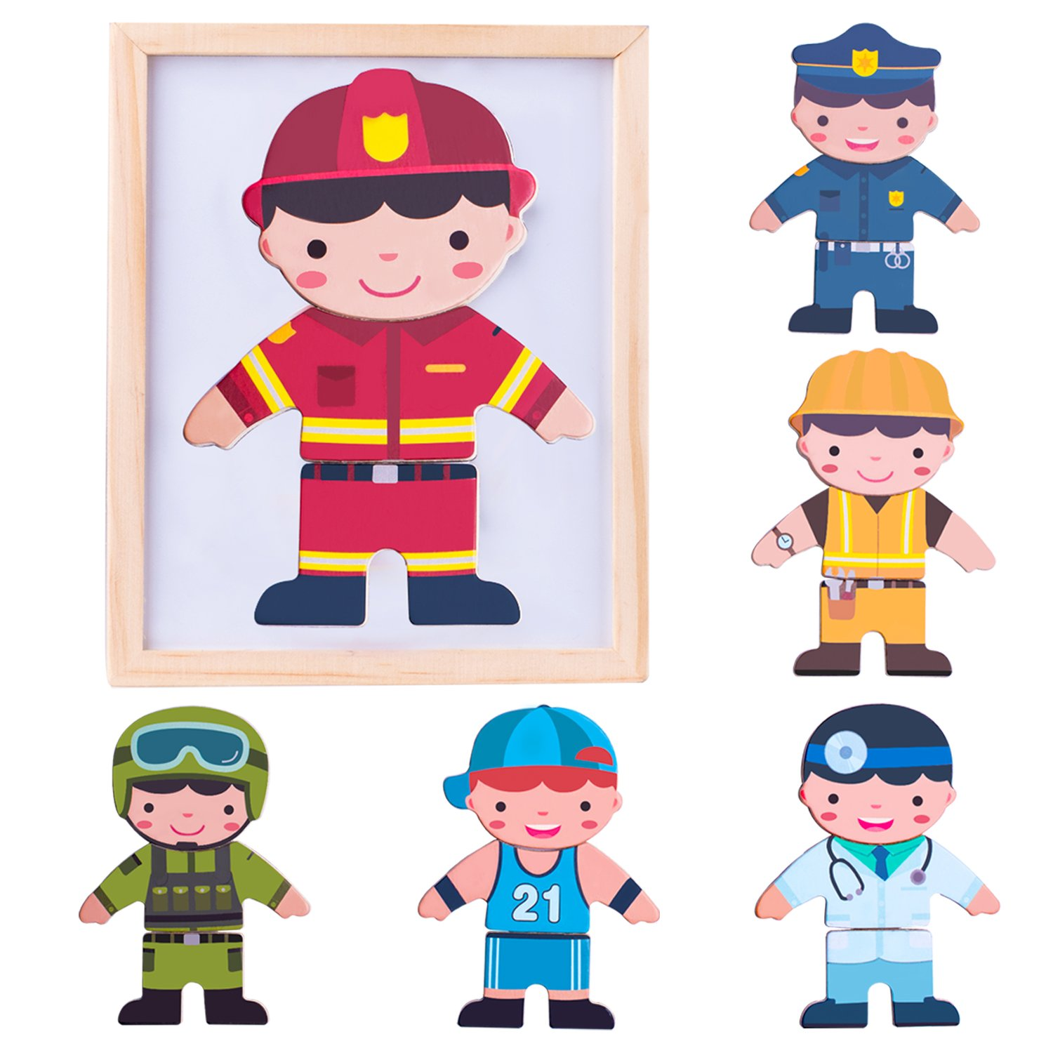 iPlay, iLearn Magnetic Wooden Dolls, Pretend Play Mix & Match It, Fun'n Cool Dress Up, Career Jigsaw Puzzle Toys, Fireman, Fridge Magnets, Educational Gift for 3, 4 Year Olds, Kids, Boys, Girls