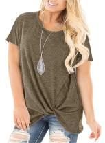 Nemidor Women's Short Sleeve Casual Side Twist Knotted T Shirts Loose Fit Plus Size Summer Tops Blouses NEM208