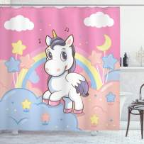 """Ambesonne Feminine Shower Curtain, Unicorn with Rainbow and Music Notes Clouds in The Sky Art Print, Cloth Fabric Bathroom Decor Set with Hooks, 84"""" Long Extra, Pink Yellow"""