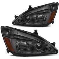 AUTOSAVER88 Headlight Assembly Compatible with 2003 2004 2005 2006 2007 Honda Accord OE Headlamp Replacement,Smoked Housing