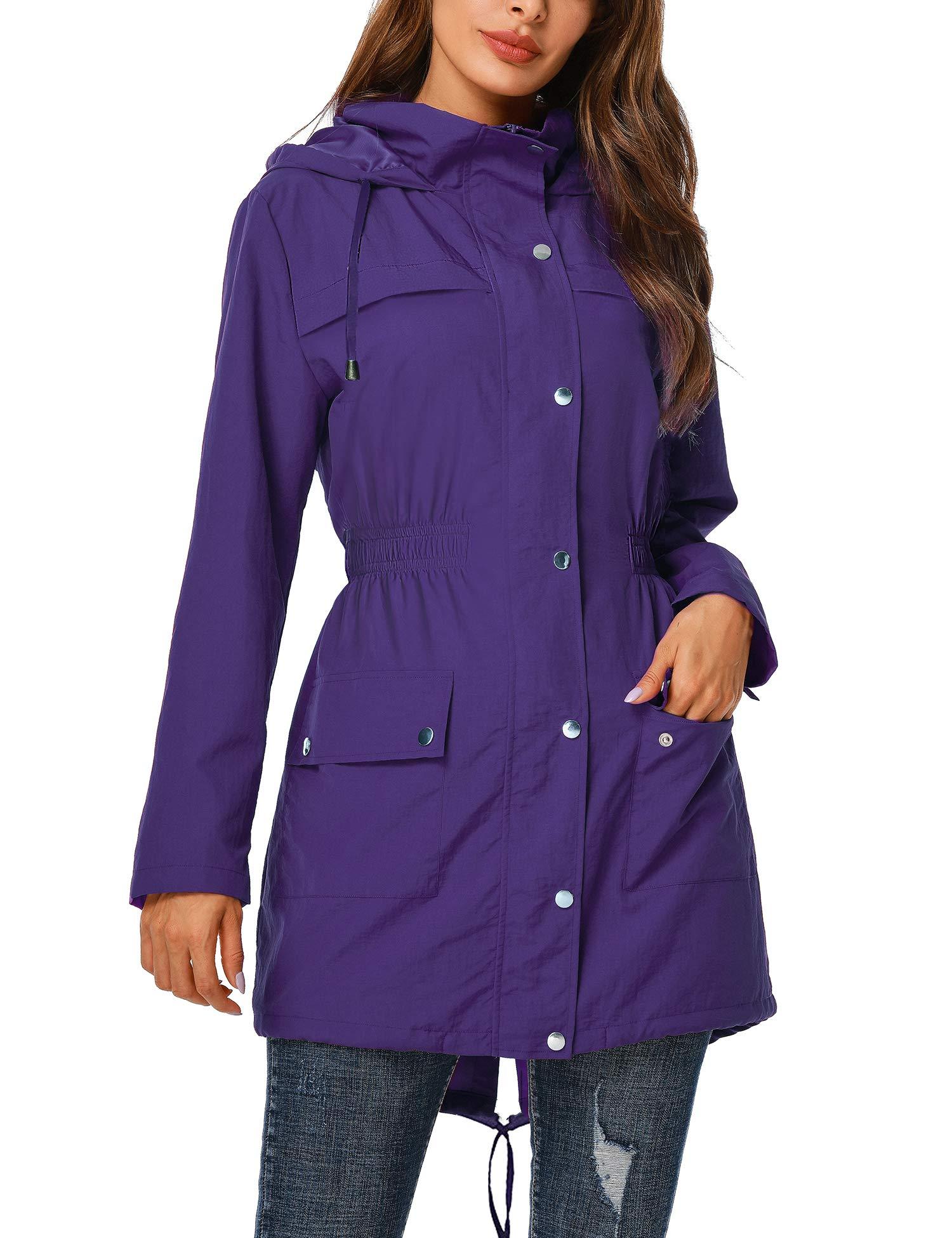 UUANG Rain Jacket Women Waterproof with Hood Outdoor Raincoat Active Lightweight Jacket S-2XL
