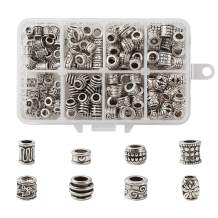 Craftdady 190Pcs Antique Silver Spacer Beads 8 Styles Tibetan Large Hole Column Tube Barrel Metal Charm Beads Hole: 4-5mm Fit European Charm Snake Chain Bracelet Jewelry Making Nickel Free