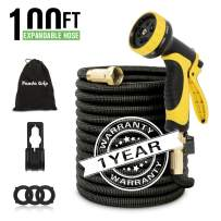"""Panda Grip 100ft Expandable Garden Hose with 10 Function Spray Nozzle, 3 Times Expanding Water Hose with 3/4"""" Solid Brass Fittings for Watering Garden, Washing Car, Pet Care, Black"""