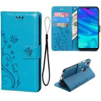 Teebo Wallet Case for Huawei P Smart 2019, 3 Card Holder Embossed Butterfly Flower PU Leather Magnetic Flip Cover for Huawei Honor 10 Lite(Blue)