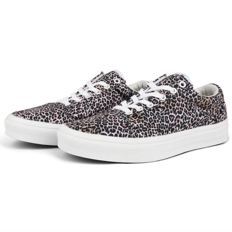 Women's Leopard Canvas Skate Shoes Casual Slip-On Fashion Sneaker Soft Non-Slip Comfortable Skateboarding Shoes