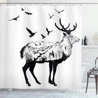 """Ambesonne Animal Shower Curtain, Mountain and Cottage Scene in Hand Drawn Birds Countryside Wildlife Themed Print, Cloth Fabric Bathroom Decor Set with Hooks, 75"""" Long, Black White"""