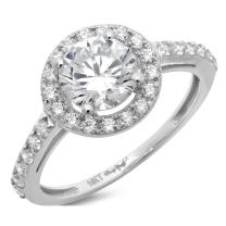 Clara Pucci 2.25 CT Round Cut Solitaire Pave Halo Wedding Promise Anniversary Bridal Band Engagement Ring 14k White Gold