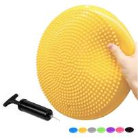 PROMIC Stability Wobble Cushion with Hand Pump, Durable Kids Wiggle Seat for Classroom, Inflated Exercise Balance Board Stability Disc Office Foot Rest Massage Pad (1-Pack/2-Pack/3-Pack, 7 Colors)