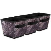 DII Polyester Foldable Trapezoid Laundry Organizing Cube Basket Bin, Small, Set of 3, Black Marble