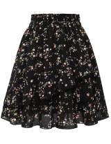 Bbonlinedress Women's Summer Chiffon Skater Skirt Floral Print Ruffle A-line Mini Skirts