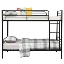 Metal Bunk Bed Twin Over Twin,Heavy Duty Bed Frame with Safety Guard Rails & Flat Ladder for Kids/Teens/Adults (Style F(Black), Twin Over Twin)