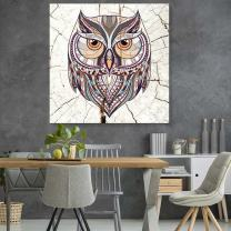 wall26 - Square Canvas Wall Art - Pattern Owl Wood Effect Canvas - Giclee Print Gallery Wrap Modern Home Decor Ready to Hang - 24x24 inches