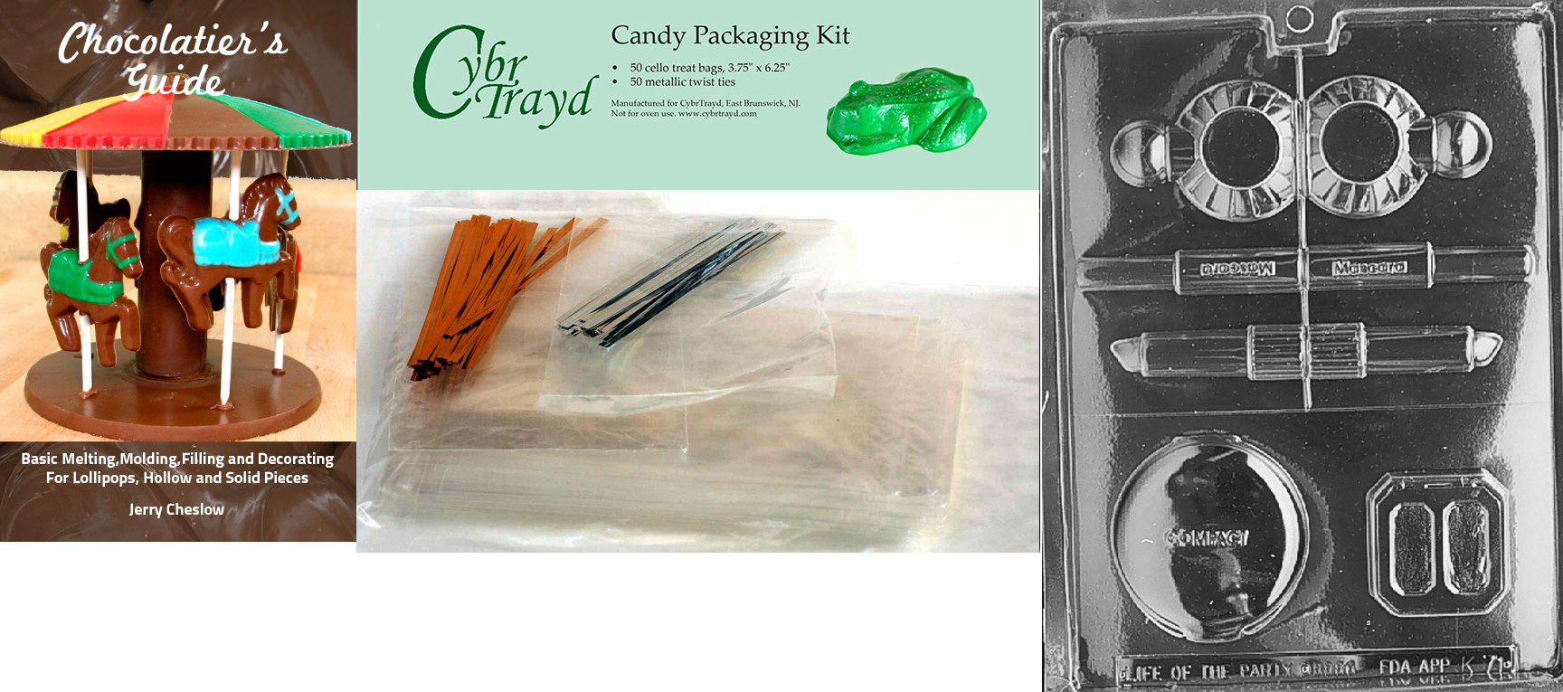 Cybrtrayd 'Makeup Kit Kids' Chocolate Candy Mold with Chocolatier's Bundle of 50 Cello Bags, 25 Gold and 25 Silver Twist Ties and Chocolate Molding Instructions