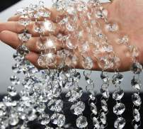 13 Feet Clear Crystal Beads Clear Chandelier Bead Lamp Chain for Christmas Wedding Party Tree Garlands Decoration, DIY Jewelry Making,and Other DIY Craft Projects