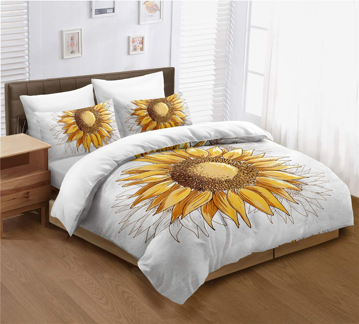 Sunflower Duvet Cover Set Twin Size, Yellow Sunflowers Painting Effect and in Minimalistic Design Artwork, Decorative 2 Piece Bedding Set with 1 Pillow Cases, Modern Style for Men and Women