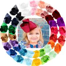 Oaoleer 20 Colors 8 Inch Hair Bows Clips Grosgrain Ribbon Bows Hair Alligator Clips Hair Barrettes Hair Accessories for Girls Toddler Infants Kids Teens Children (8 Inch/20pcs)