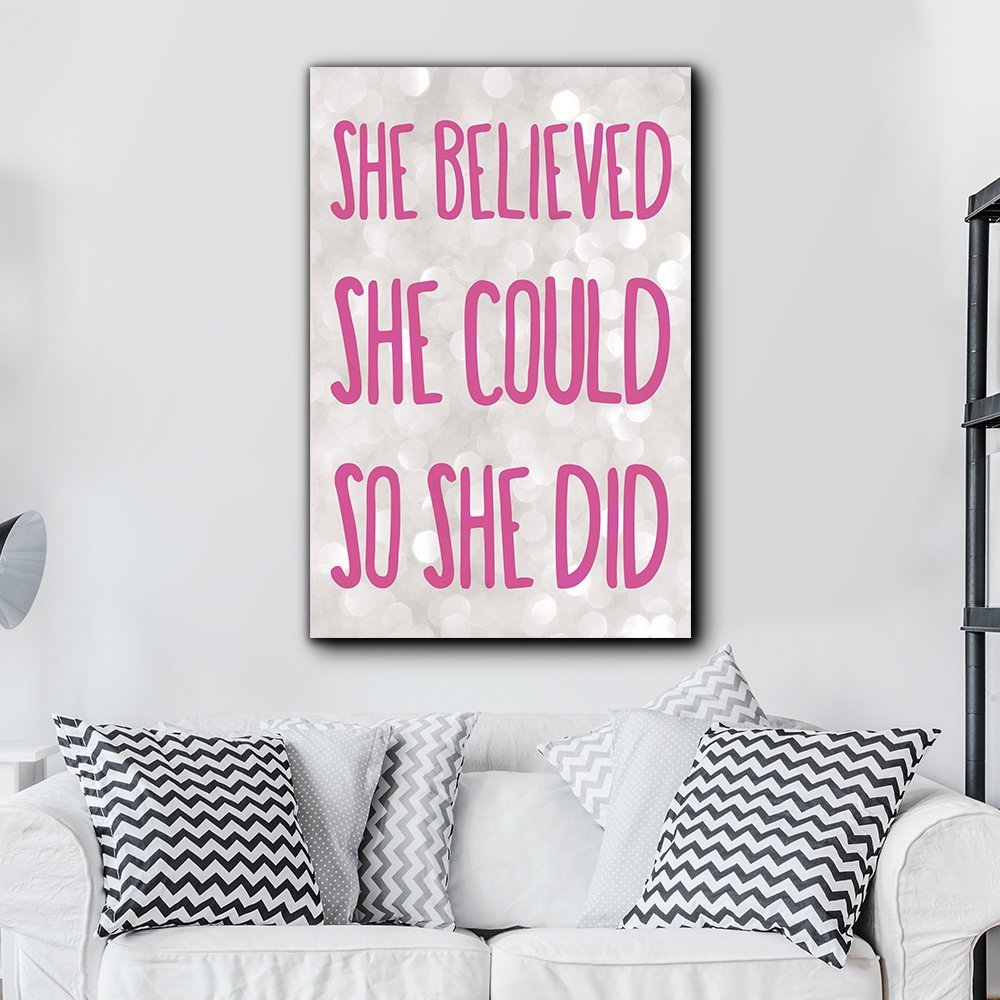 wall26 - Bold Inspirational Quote She Believed She Could So She Did Pink on Champagne Bokeh Background - Home Dorm Room Decor - Canvas Art Home Decor - 12x18 inches