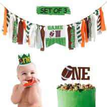 AERZETIX Football Theme Baby 1st Birthday Decoration Set with  Game On  Highchair Burlap Banner, One Birthday Cake Topper, Green One Crown Hat Bday Party Decorations Sign