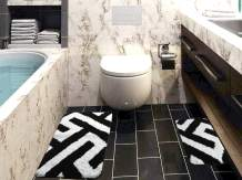 Black White Bathroom Rugs and Mats Sets 2 Piece- Super Non-Slip Water Absorption and Soft Microfiber