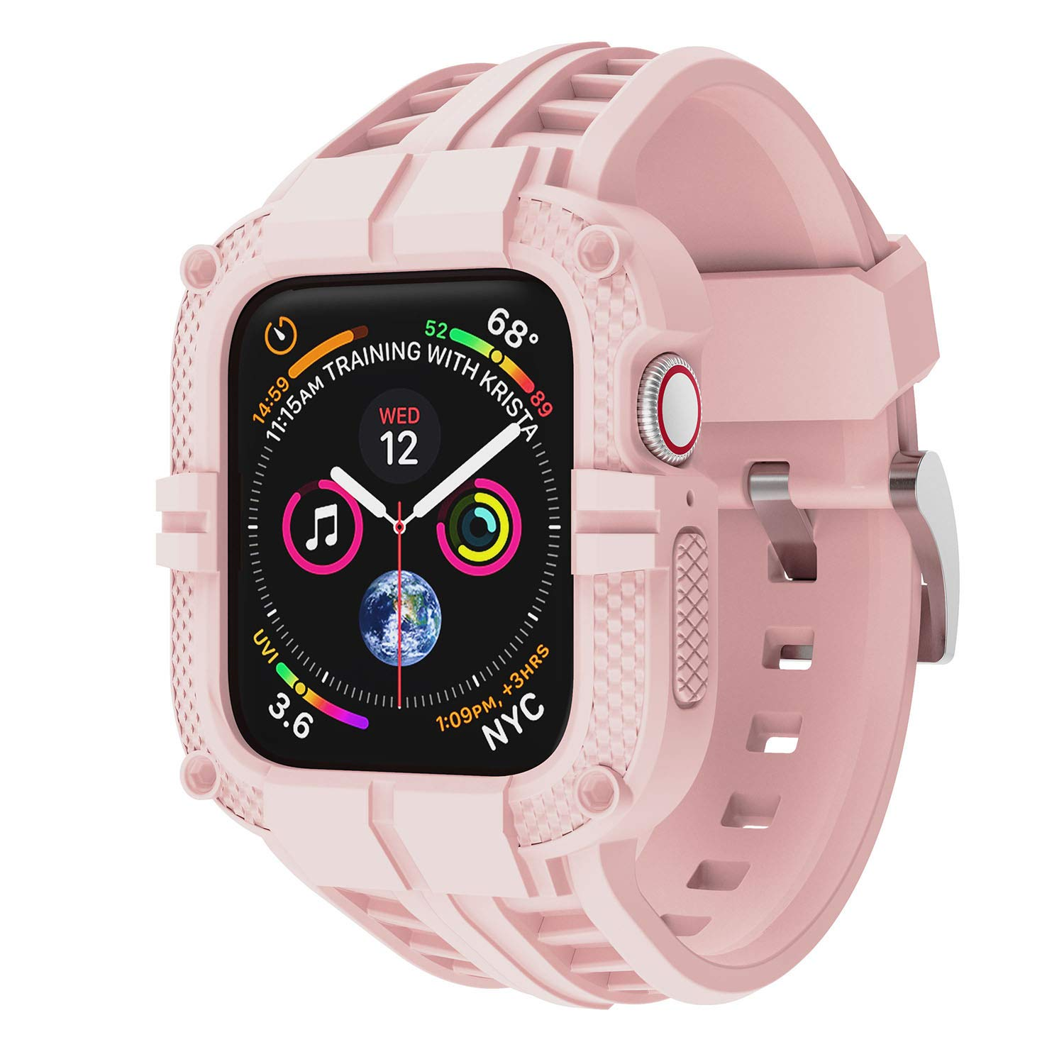 T-ENGINE Band Compatible with Apple Watch Band 40mm Series 6 Series 5/4/SE, TPU Rugged Band with Full Protection Case for Women/Men, Pink