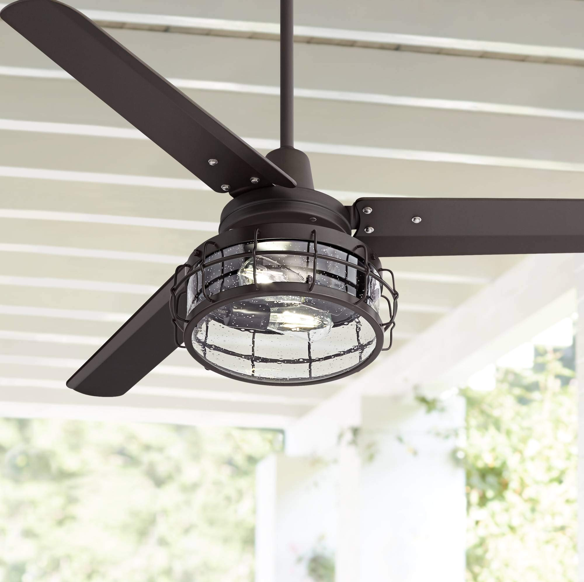"""52"""" Plaza Industrial Ceiling Fan with Light LED Remote Control Oil Rubbed Bronze Clear Seedy Glass for Living Room Kitchen Bedroom Family Dining - Casa Vieja"""