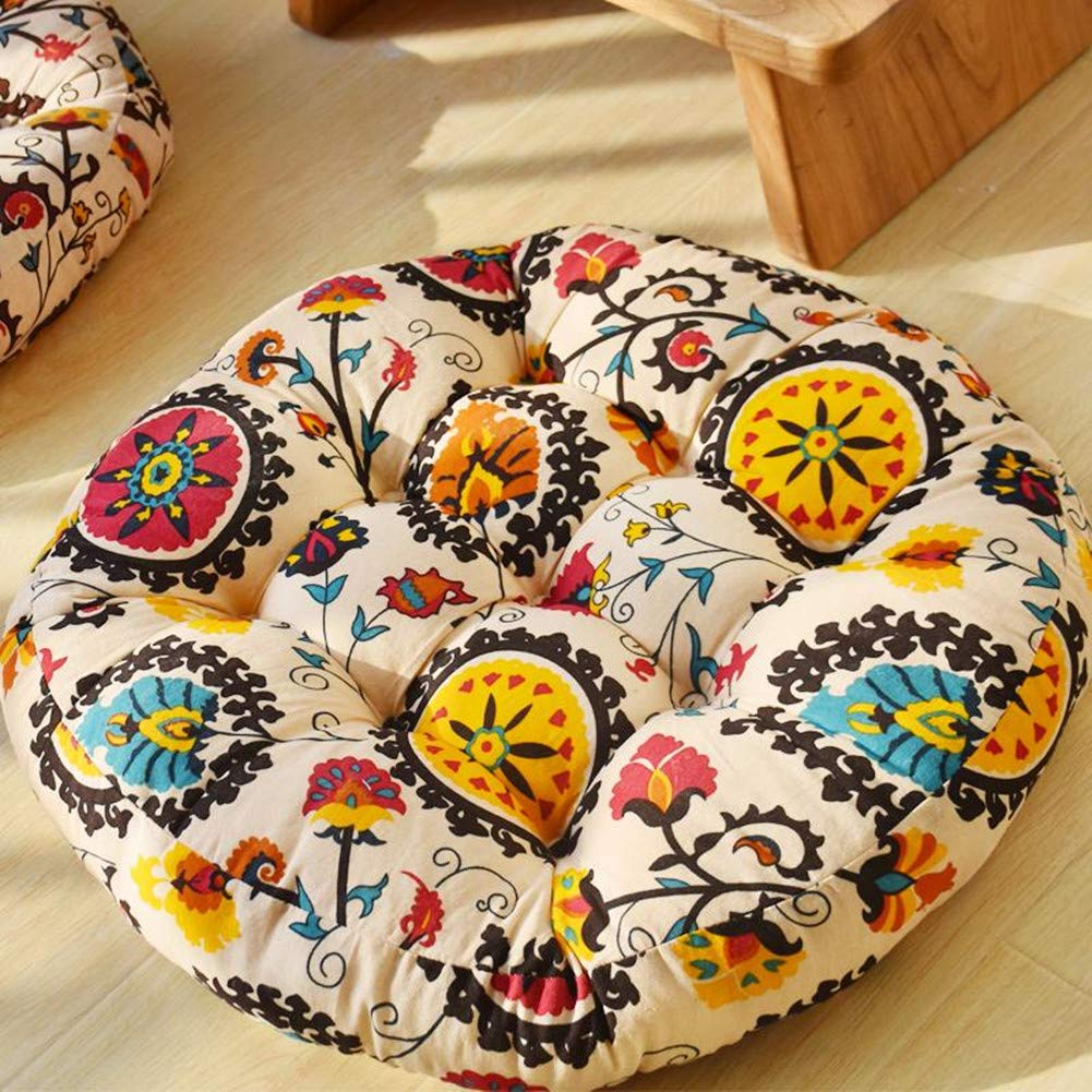 zhengjun 22 Inch Solid Round Seat Cushion,Thicken Pillow Seat Cotton Chair Pad Tatami Floor Cushion for Yoga Meditation Living Room Balcony Office Outdoor (Beige, 22x22 Inch)