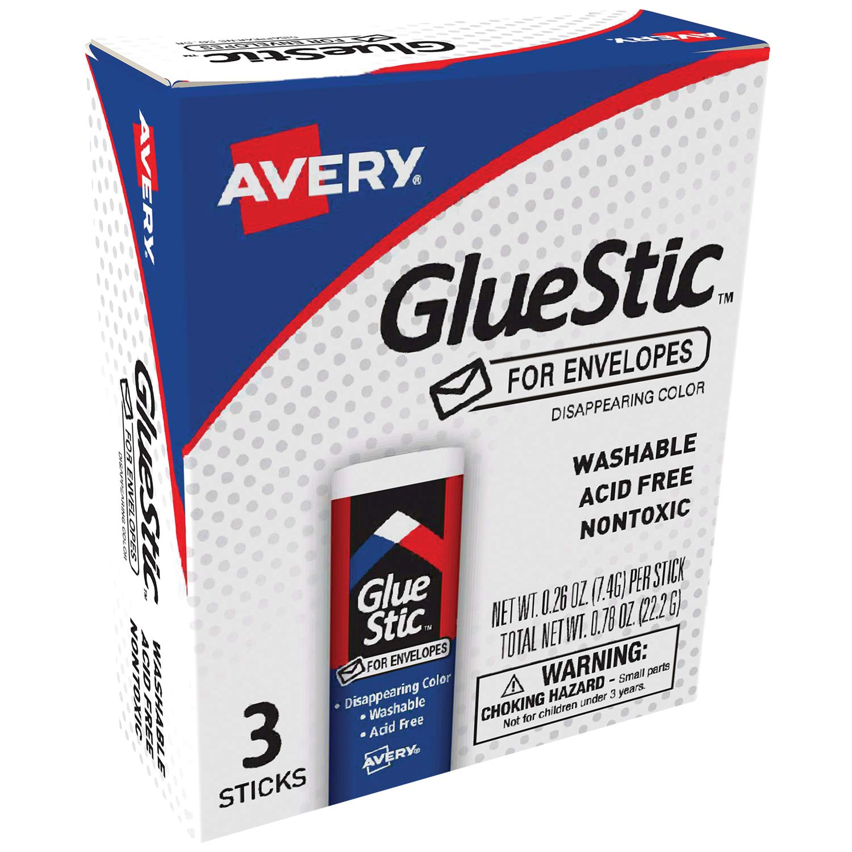 Avery Glue Stick for Envelopes, Disappearing Purple Color, Nontoxic, 0.26 oz. Permanent Glue Stic, 3pk (00134)