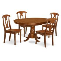 5 Pc Dining room set-Oval Dining Table with Leaf and 4 Chairs