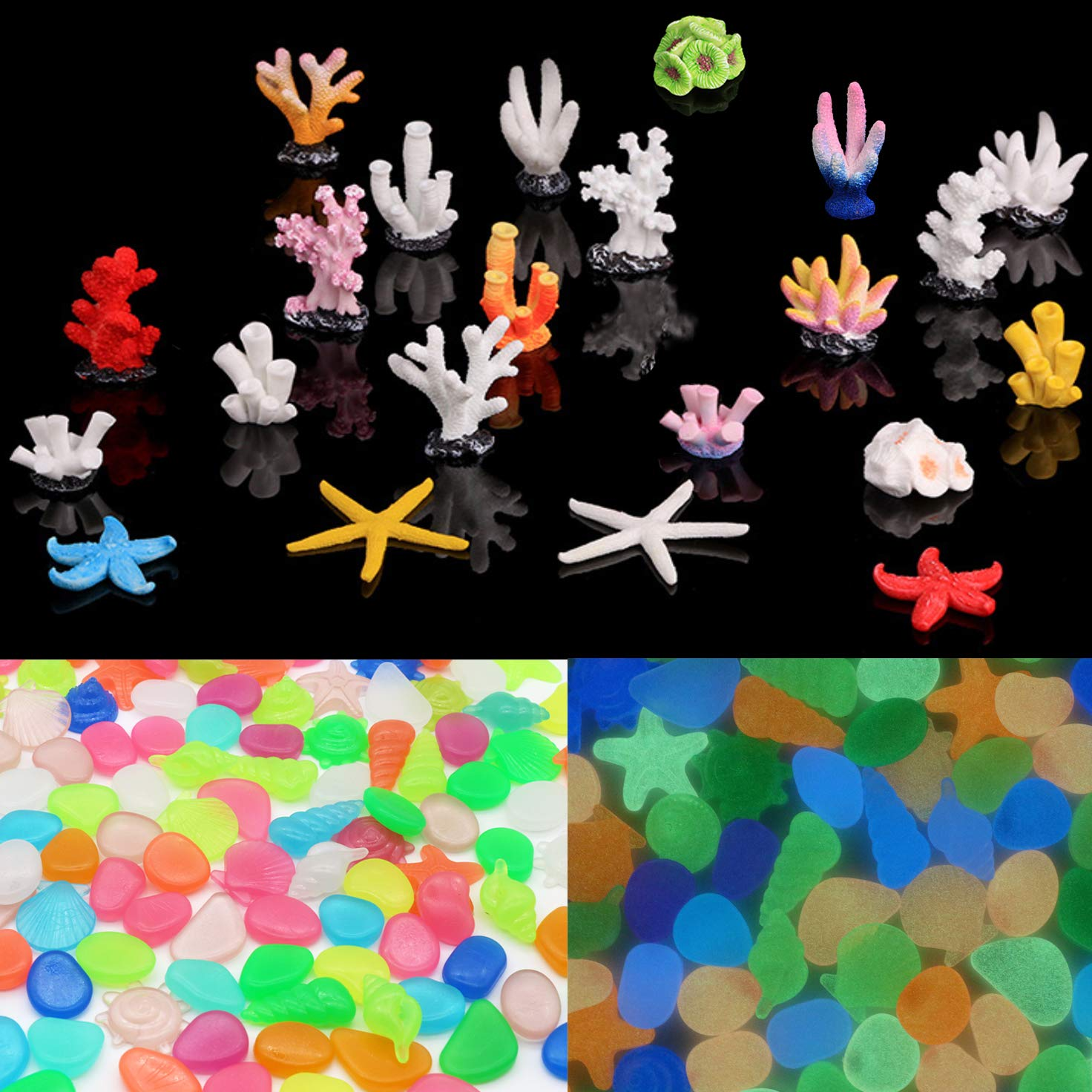 SunKni 22 Pack Resin Coral & 28 Pack Glow in The Dark Pebble Stone for Fish Tank Aquarium Decorations